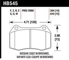 Disc Brake Pad Set fits 2003-2009 Nissan 350Z Sentra  HAWK PERFORMANCE