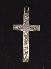 Silver Sterling Cross Pendant Front Pattern Engravings Antique Circa1900s