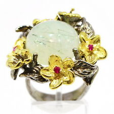 Art Handmade Silver 925 ring with Prehnite and Ruby
