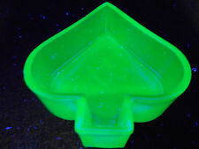 Blue Vaseline Uranium glass spade pattern salt dip cellar poker art card Cobalt