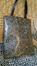 New CHICO'S Reptile Embossed Shopper Tote Shoulder Bag Exotic Python