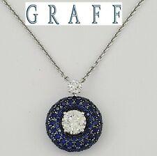 GRAFF 4.29 ct 18K W Gold Diamond & Sapphire G / Flawless GIA Necklace 3EX $36.8k