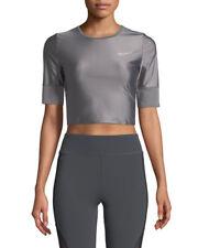 Nike Short‑Sleeve Crewneck Crop Running Top Size XSmall Gray Gunsmoke AJ2773-036