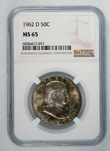 1962 D FRANKLIN HALF DOLLAR NGC MS 65 Great Natural Toning 50c Silver Mint Coin