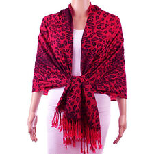 Pashmina Cashmere Scarf Shawl Wrap Animal Print Leopard Red Hollywood Fashion