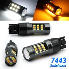 White/Amber 7443 7440 7444 LED DRL Switchback Turn Signal Parking Light Bulbs
