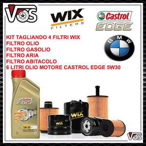KIT TAGLIANDO 4 FILTRI 6 LT DI OLIO CASTROL EDGE 5W30 PER BMW SERIE 1 118 120 D