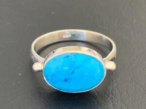925 Sterling Silver Turquoise Large Oval Gemstone Ring Solitaire Size 6 7 8 9 10