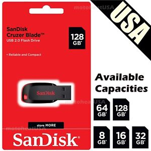 SanDisk 8GB 16GB 32GB 64GB 128GB Cruzer Blade Flash Lecteur Mémoire Clé USB Lot