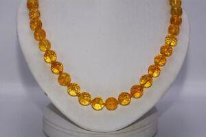 $900 250.00CT NATURAL GOLDEN ORANGE CITRINE BEADED NECKLACE 14K GOLD