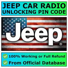 JEEP RADIO PIN CODE UNLOCK DECODE WRANGLER GRAND CHEROKEE COMPASS RENEGADE ✅