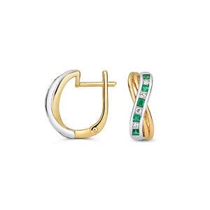 Emerald & Diamond Leverback Earrings Yellow & White Gold Drop Earrings