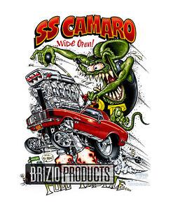 """Rat Fink """"SS Camaro"""" White Tee Shirts 8170 Front Print"""