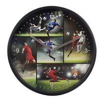 Fussball Wanduhr schwarz Ø 22,5cm Lets kick it für junge Fussballfans trendig