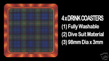 4  x  SCOTTISH TARTAN - CLAN - GORDON - DRINK COASTERS - Re-usable Washable