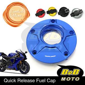 Blue FCR 1/4 Quick Lock Gas Fuel Cap For Yamaha YFZ R6 R1 FZ1 FZ8 Fazer YZF R3