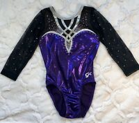 GK ELITE Leotard GYMNASTICS Purple BLING SWAROVSKI RHINESTONE Competition Sz CL