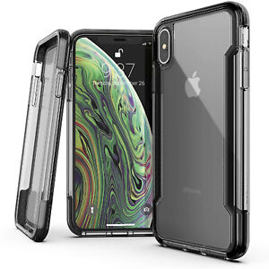 For iPhone Xs Max Case X-Doria Military Grade Drop Shock Protection Clear/Black