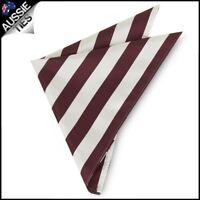 Mens Burgundy & White Striped Pocket Square Handkerchief hanky