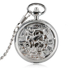 Watch Chinese Dragon Chain Gift Silver Mens Vintage Mechanical Pendant Pocket