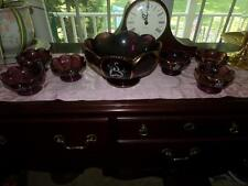 AMETHYST VNTG. BERRY BOWL SET HAND PAINTED GOLD GILT FLASH