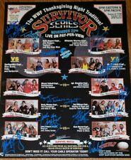 wwe survivor series poster signed by 12 legends, bret hart, jake roberts + wcw