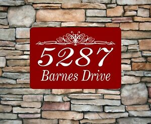 """Personalized Home Address Sign Aluminum 12"""" x 8"""" Custom House Number Plaque sq19"""