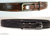 WESTERN Brown / Black LEATHER Embossed RANGER Belt 625R