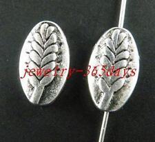 50 Tibetan Silver Wheat ear Pattern Oval Spacers 14x8.5x4mm 9873