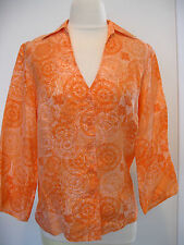 RQT Sophisticated Clotheing Orange And White Silk Blouse Size S, NWT