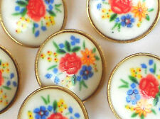 Vintage Glass buttons Japan Japanese Button Flowers One of kind #1083