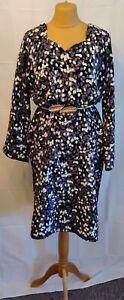 Spotty Polka Dot Tunic UK 10/12 Top/Dress Side Splits Lagenlook Oversized Party