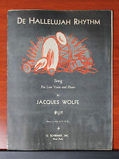 1931 De Hallelujah Rhythm by Jacques Wolfe - Low voice vocal & piano sheet music