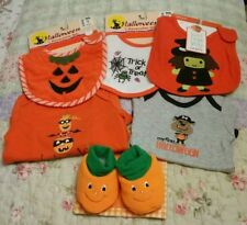 Lot Of 6 Halloween Baby Clothes: 3 Bibs, 2 One Piece & Booties