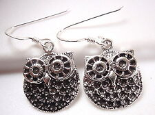 Owl Earrings 925 Sterling Silver Dangle Corona Sun Jewelry Big Eyes