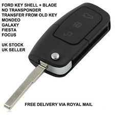 3 BUTTON CAR KEY FOB SHELL BLADE  FOR FORD MONDEO FOCUS CMAX GALAXY FIESTA UK