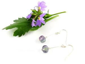 1 Paar Ohrhänger mit gravierten Perlen aus Fluorit 925-Silber
