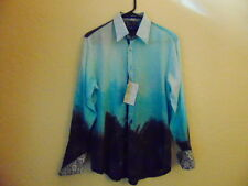 NWT Men's Georg Roth Los Angeles Multi Blues/Turquoise/Navy 100% Cotton Shirt-S