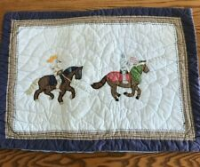 Pottery Barn Kids Quilted Pillow Sham Knight Jousting Horses Blue Cotton