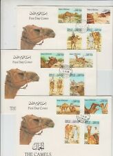 Stamps BAHRAIN 1989 camels set of 12 on 3 x official FDCs, scarce