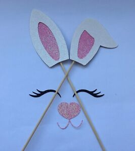 Bunny Ears, Nose and Eyelashes Large Cake decoration Easter GLITTER