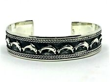 Adorable Tribal Artisan Sterling Silver 925 Open Cuff Dolphin Jewelry Bracelet