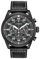 Citizen Eco-Drive Avion Men's Chronograph Black Leather 44mm Watch CA4215-21H