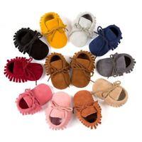 US Baby Tassel Soft Sole Moccasin Suede Shoes Boy Girl Toddler Infant Kids 0-18M