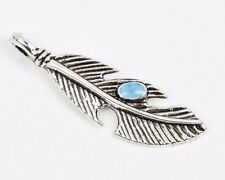 "4 Silver FEATHER Charm Pendants, turquoise blue enamel accent, 1.5"" long che0457"