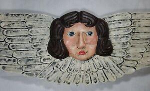 "Nancy Thomas Folk Art Wooden XL Logo Angel Signed & Dated 1998 28.5"" by 9"""
