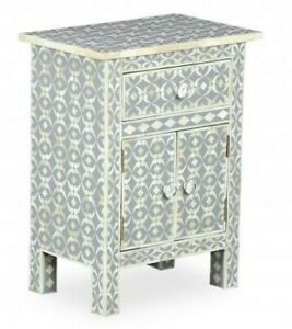 MADE TO ORDER Bone Inlay Indian Handicraft Bedside Cabinet Table Grey Geometric