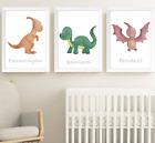 Dinosaur Nursery Art Prints Set of 3 Dinosaurs Print Baby Boy Kids Room Pictures
