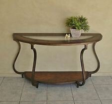 Elegant Half Round Hall Console Display Table ~Burr Walnut Inlay Inset Glass Top