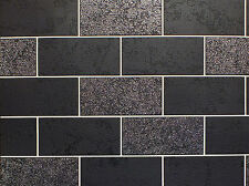 CERAMICA BLACK WHITE GLITTER TILE KITCHEN BATHROOM VINYL WALLPAPER FD41462